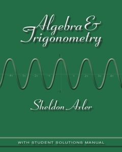 Algebra and Trigonometry – Sheldon Axler – 1st Edition